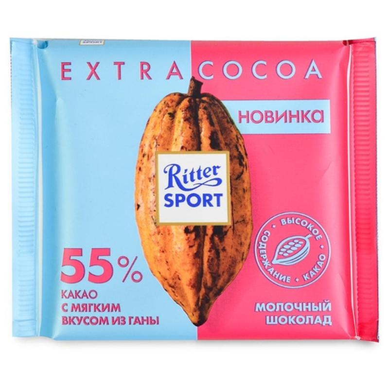 Шоколад Ritter Sport Extra Cocoa «55% какао с мягким вкусом из Ганы» постер