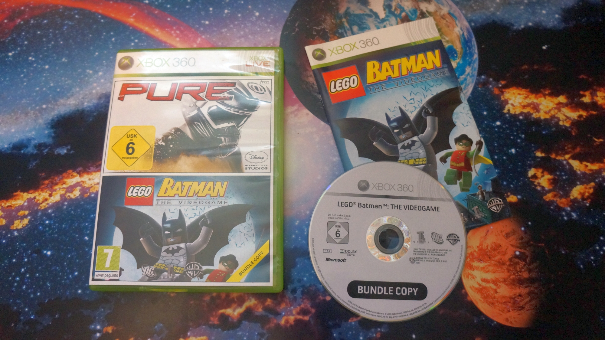 Игра для Xbox 360 LEGO Batman: The Videogame фото коробки и диска