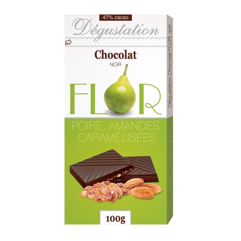 Шоколад Flor Degustation «Noir Poire Amandes Caramélisées» poster